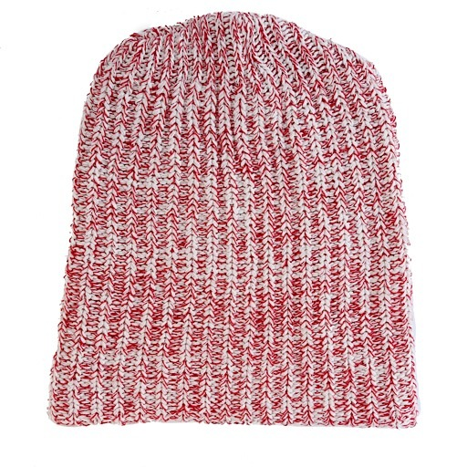 Marled Cotton Knit Hat - Red Heather