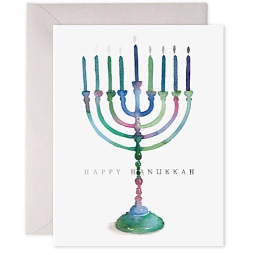 E Frances Colorful Menorah Card