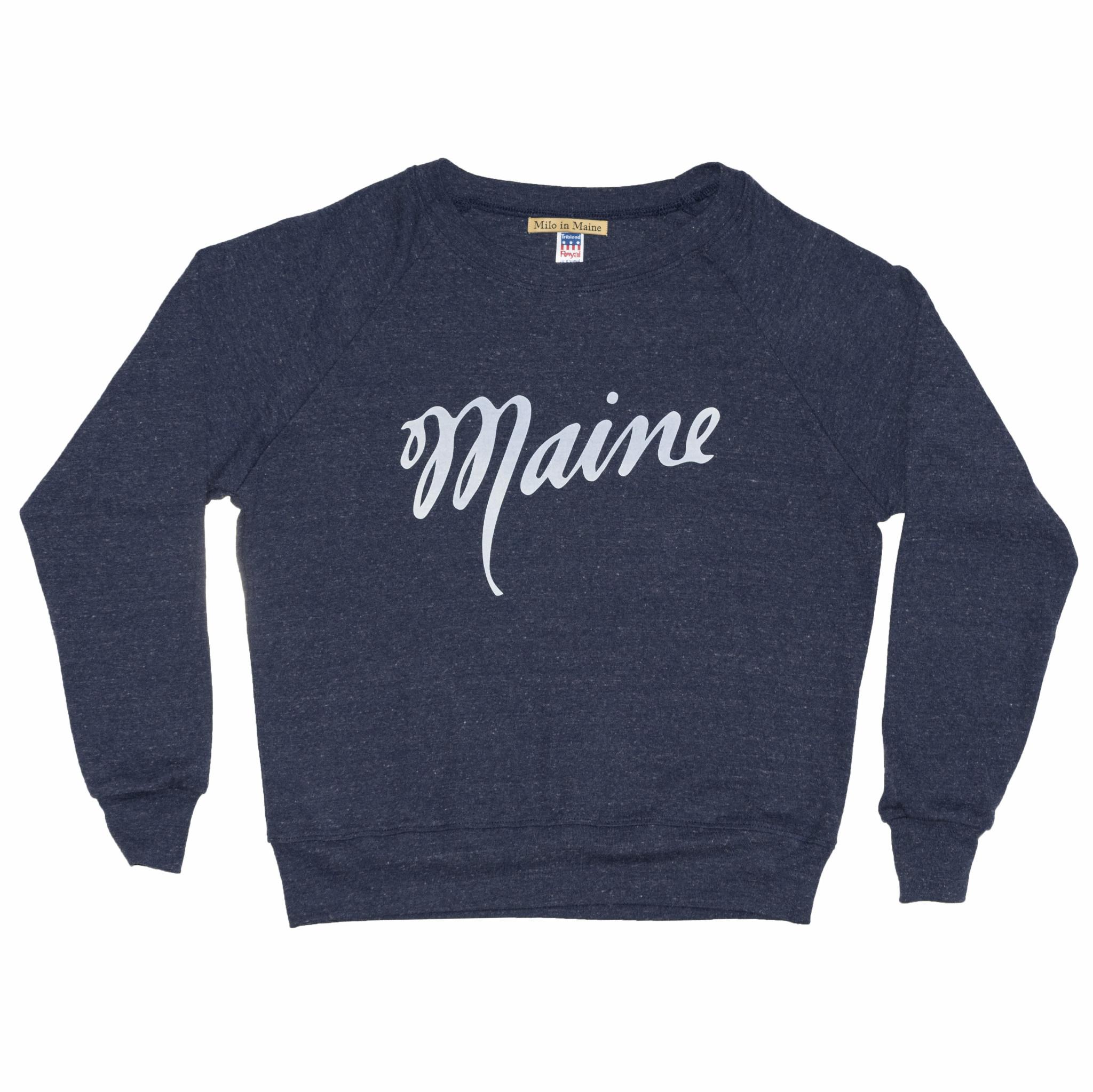 Milo In Maine Women's Long Sleeve Raglan Pullover - Maine Script