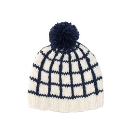 The Blueberry Hill The Blueberry Hill Adult Window Pane Knit Hat - Navy - L