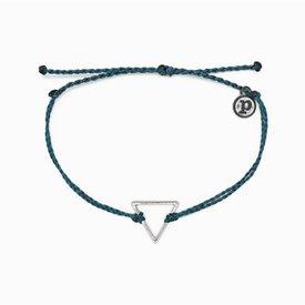 Pura Vida Pura Vida Charm Bracelet Triangle - Mediterranean Green/Silver