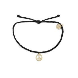Pura Vida Pura Vida Bracelet - Peace Sign - Black/Gold