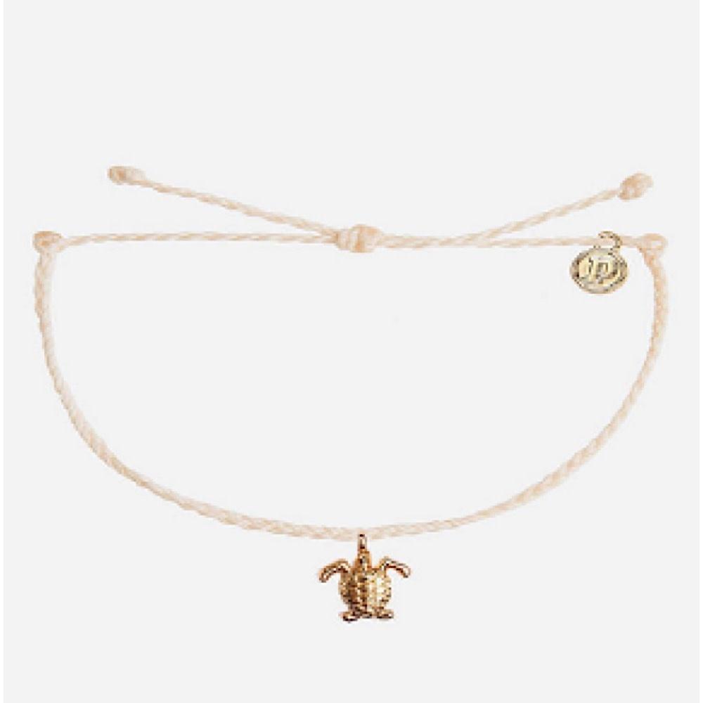 Pura Vida Bitty Charm Bracelet - Gold Turtle - Vanilla