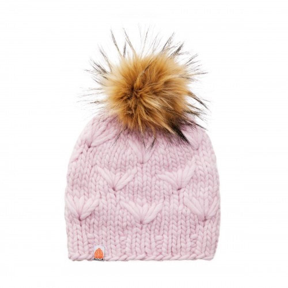 Shit That I Knit Motley Beanie - Blush Pink - Faux Fur Pom