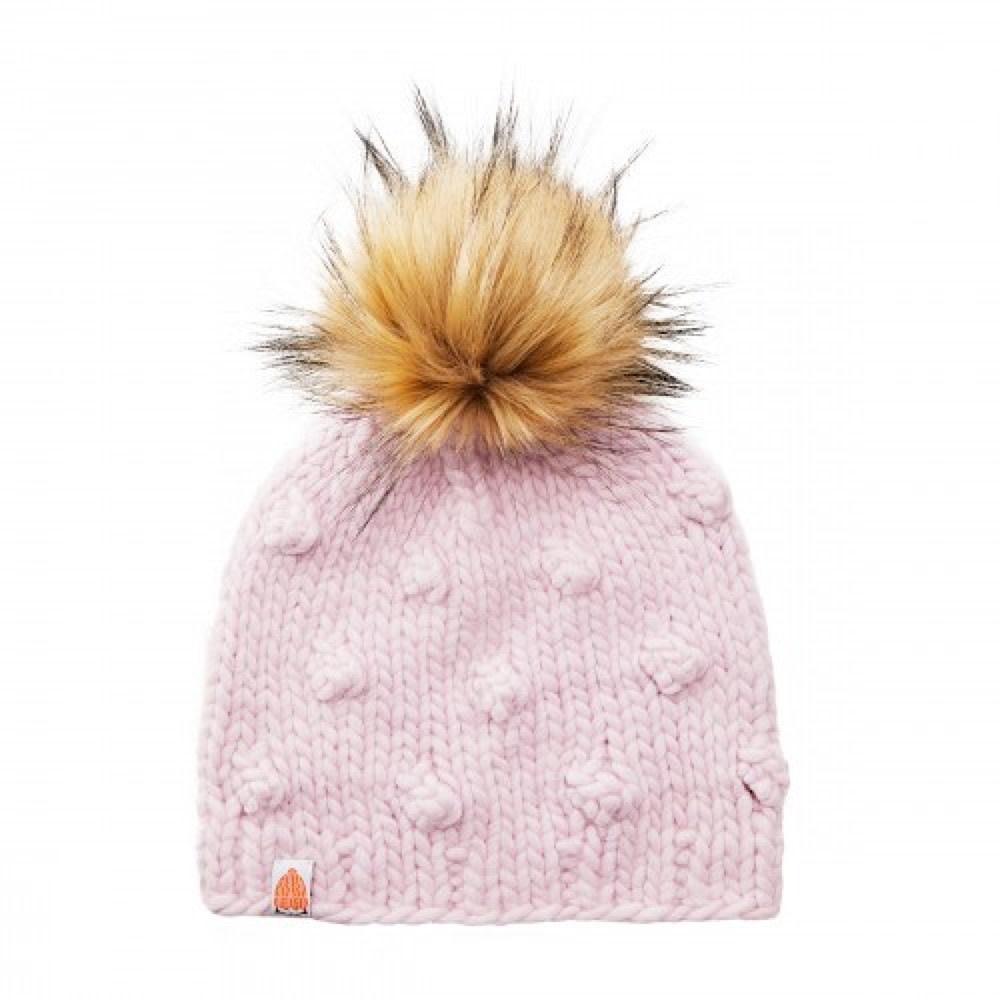 Shit That I Knit Campbell Beanie - Blush Pink - Faux Fur Pom