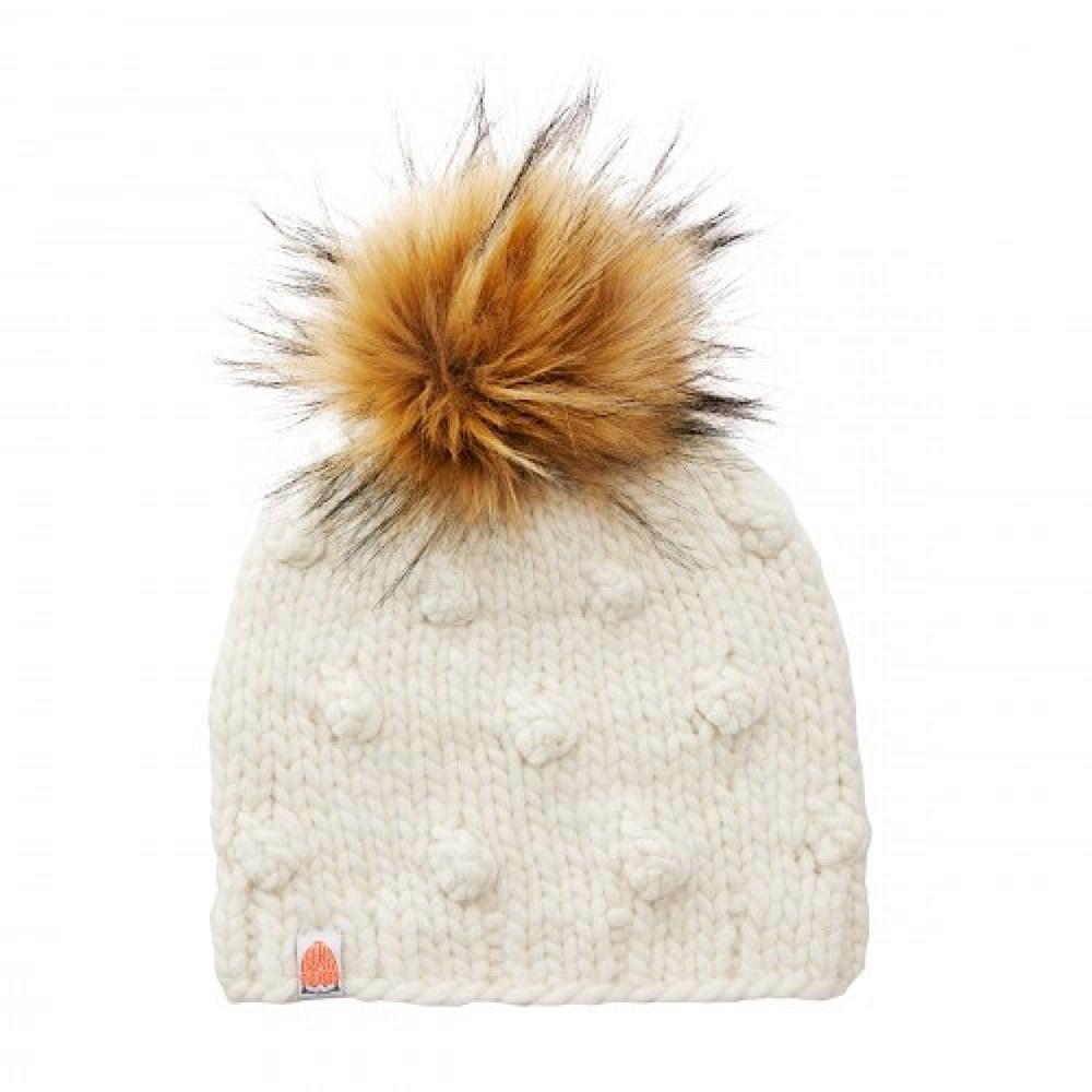 Sh*t That I Knit - Campbell Beanie - White Lie Faux Fur Pom
