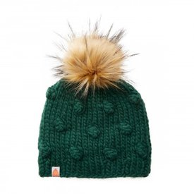 Shit That I Knit Shit That I Knit Campbell Beanie - Forest Green Faux Fur Pom