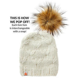 Sh*t That I Knit - Campbell Beanie - Blush Pink - Faux Fur Pom