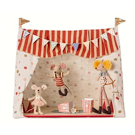 Maileg Maileg Circus Tent with Circus 3 Mice - Red Stripe