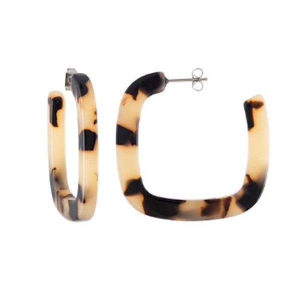 Machete Machete - Midi Square Hoop Earrings - Blonde Tortoise