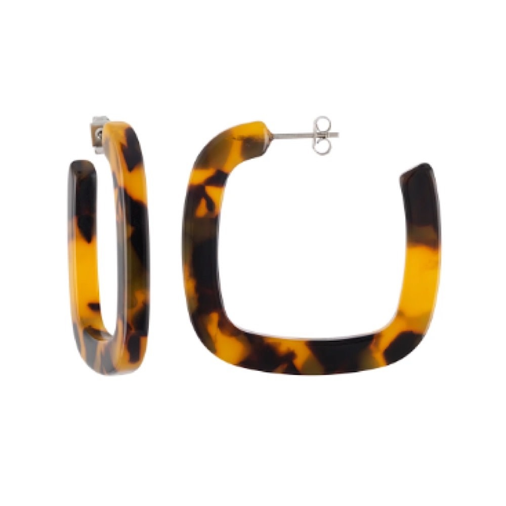 Machete - Midi Square Hoop Earrings - Classic Tortoise