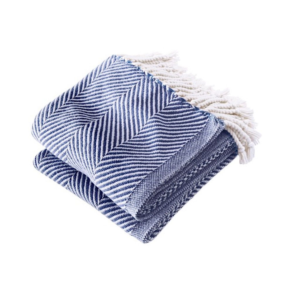 Brahms Mount Brahms Mount - Monhegan Cotton Throw  - White & Navy