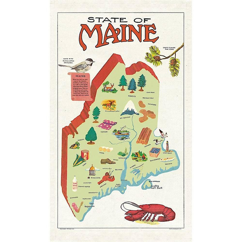 Cavallini Papers & Co., Inc. Cavallini Tea Towel - Maine
