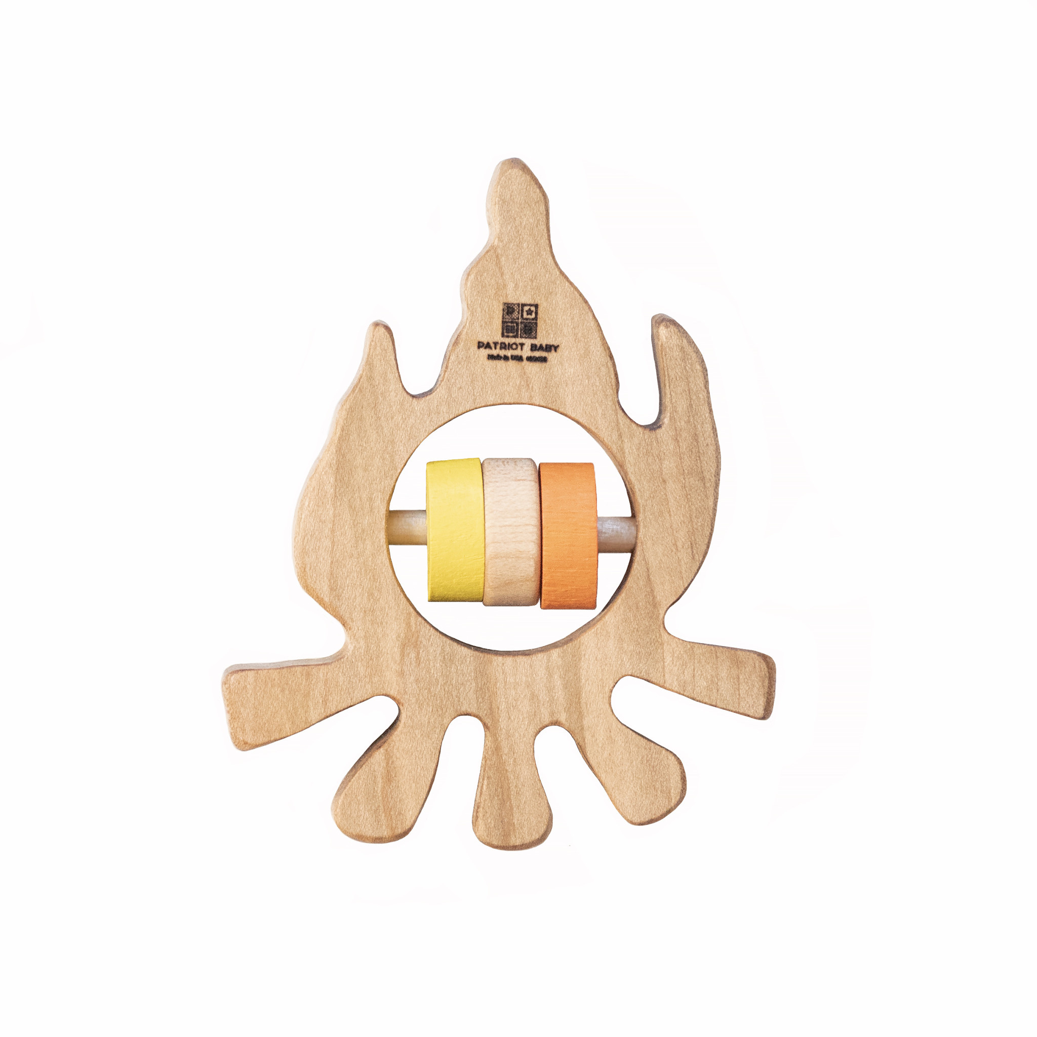Patriot Baby Wooden Teething Rattle - Campfire