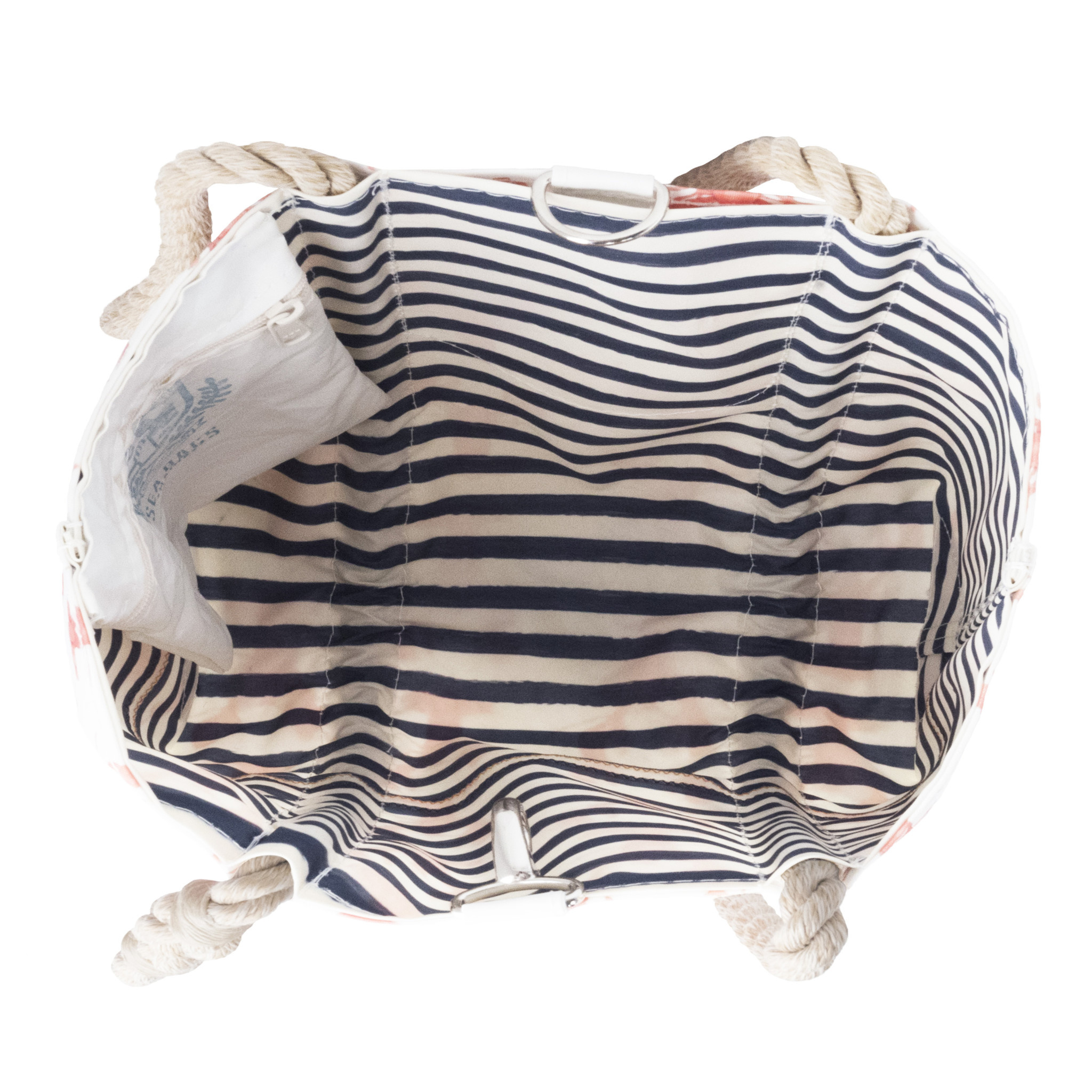 Sea Bags Sara Fitz Lobster Pattern Tote - Hemp Handle - Medium with Clasp