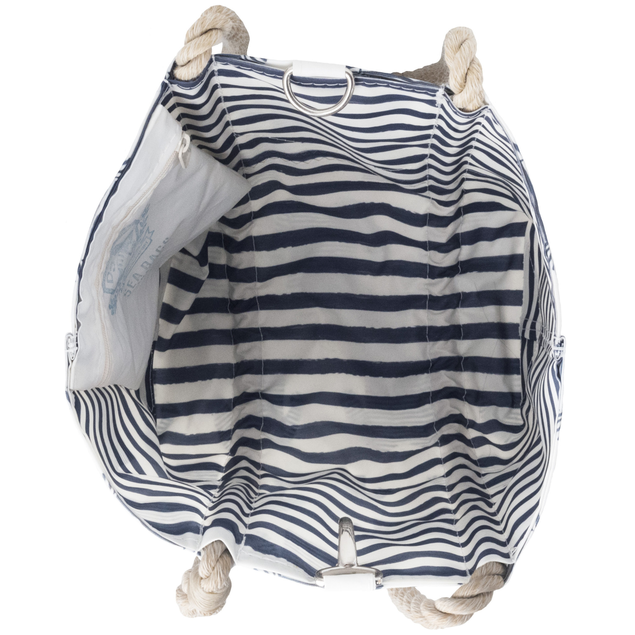 Sea Bags Sara Fitz Striped Shirt Pattern Handbag Tote - Hemp Handle - Small with Clasp