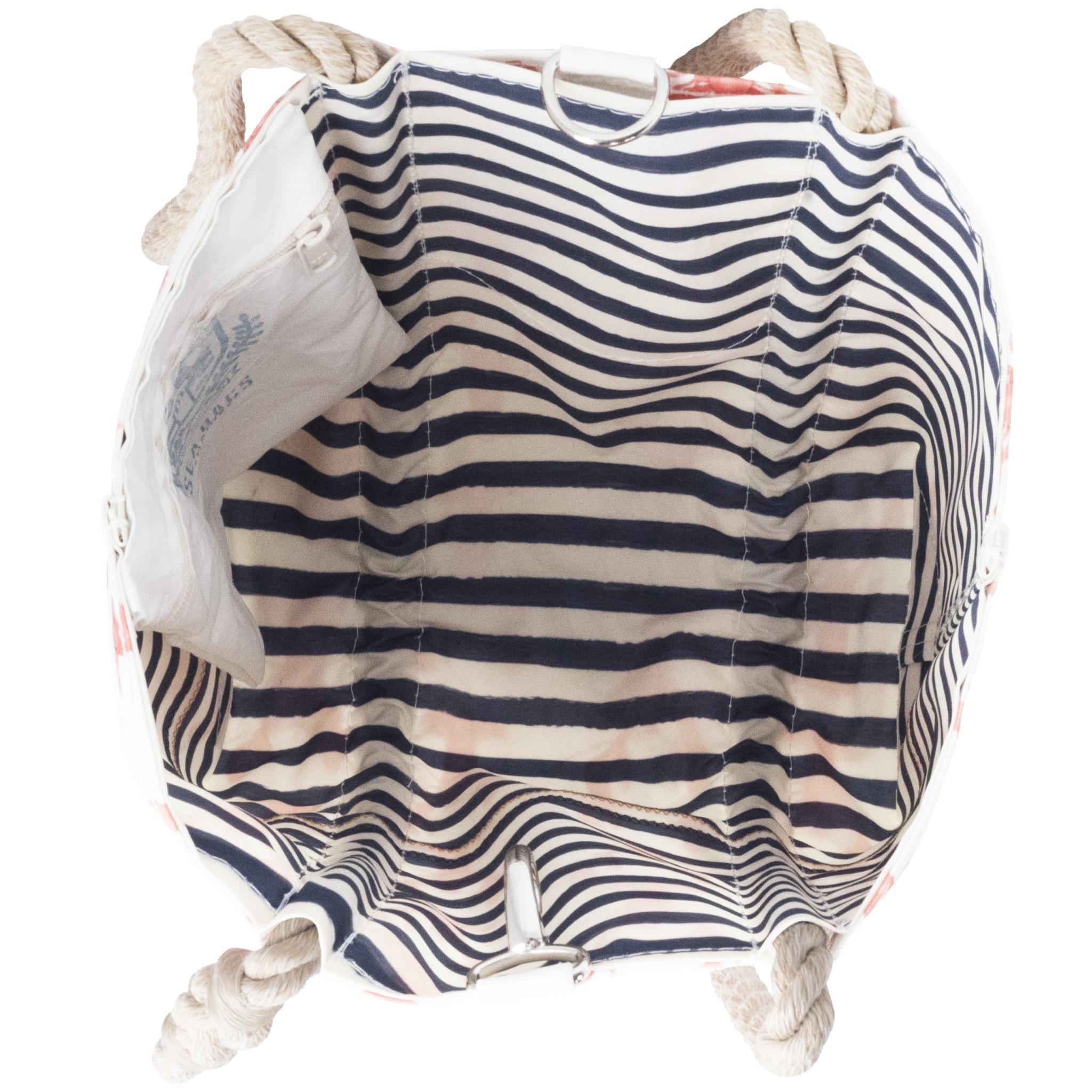 Sea Bags Sara Fitz Lobster Pattern Handbag Tote - Hemp Handle - Small with Clasp