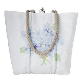 Sea Bags Sea Bags Sara Fitz Hydrangea Single Bloom Tote - Hemp Handle - Medium with Clasp