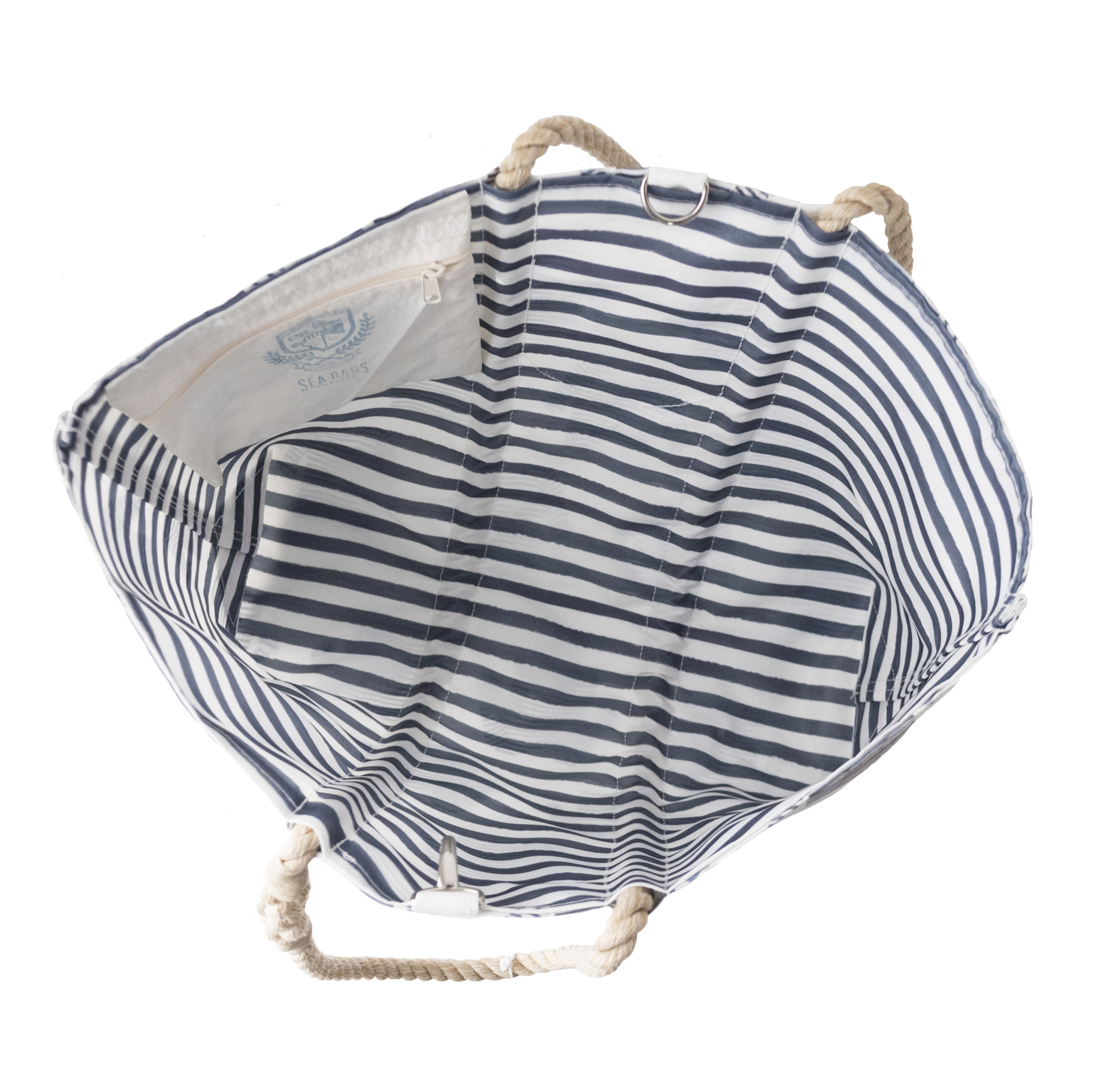 Sea Bags Sara Fitz - Striped Shirt - Large Tote - Hemp Handle with Clasp