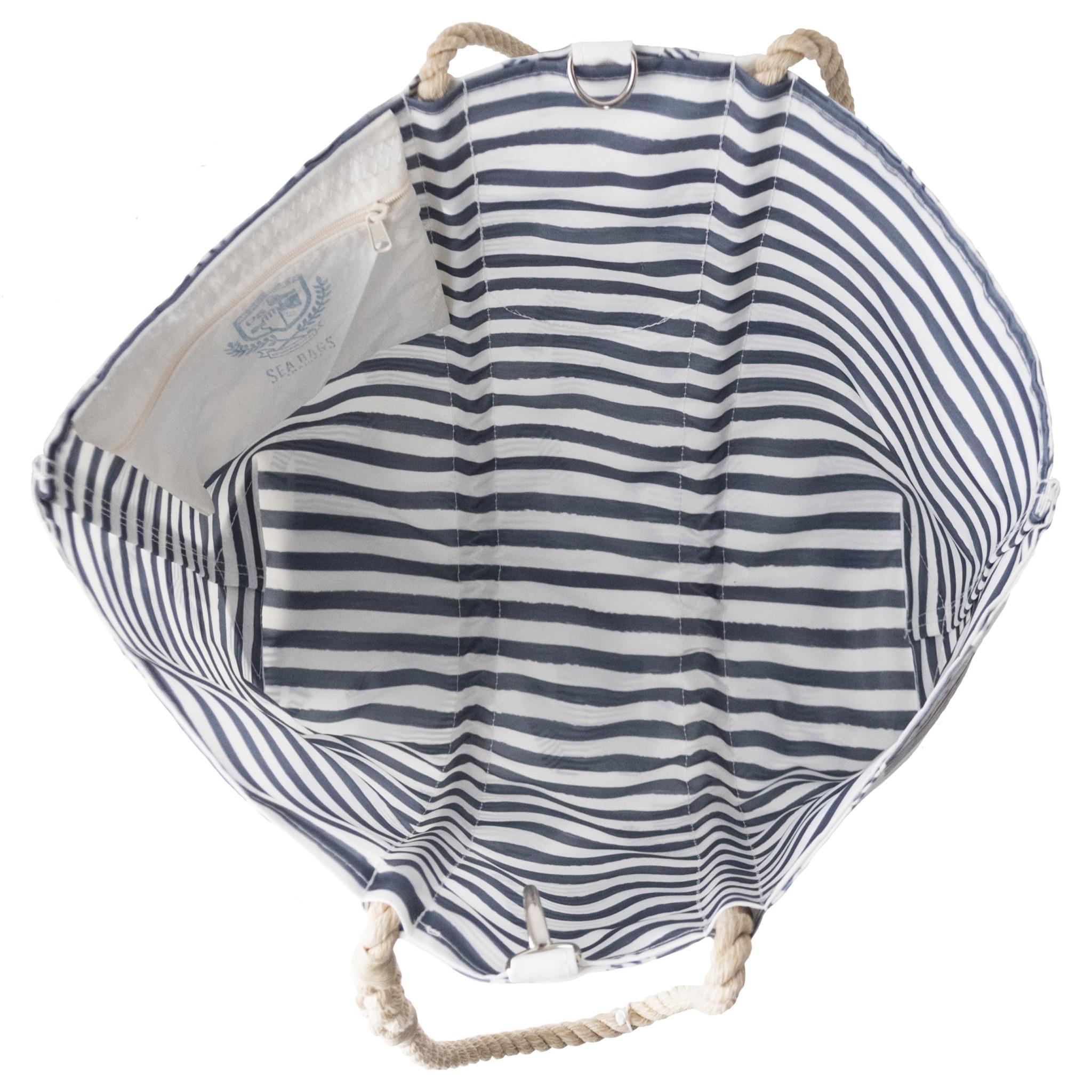 Sea Bags Sara Fitz Striped Shirt Pattern Tote - Hemp Handle - Medium with Clasp