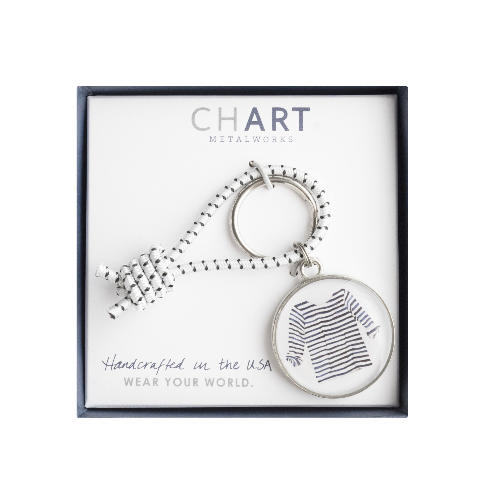 Chart Metalworks Key Ring - Sara Fitz Striped Shirt - Pewter