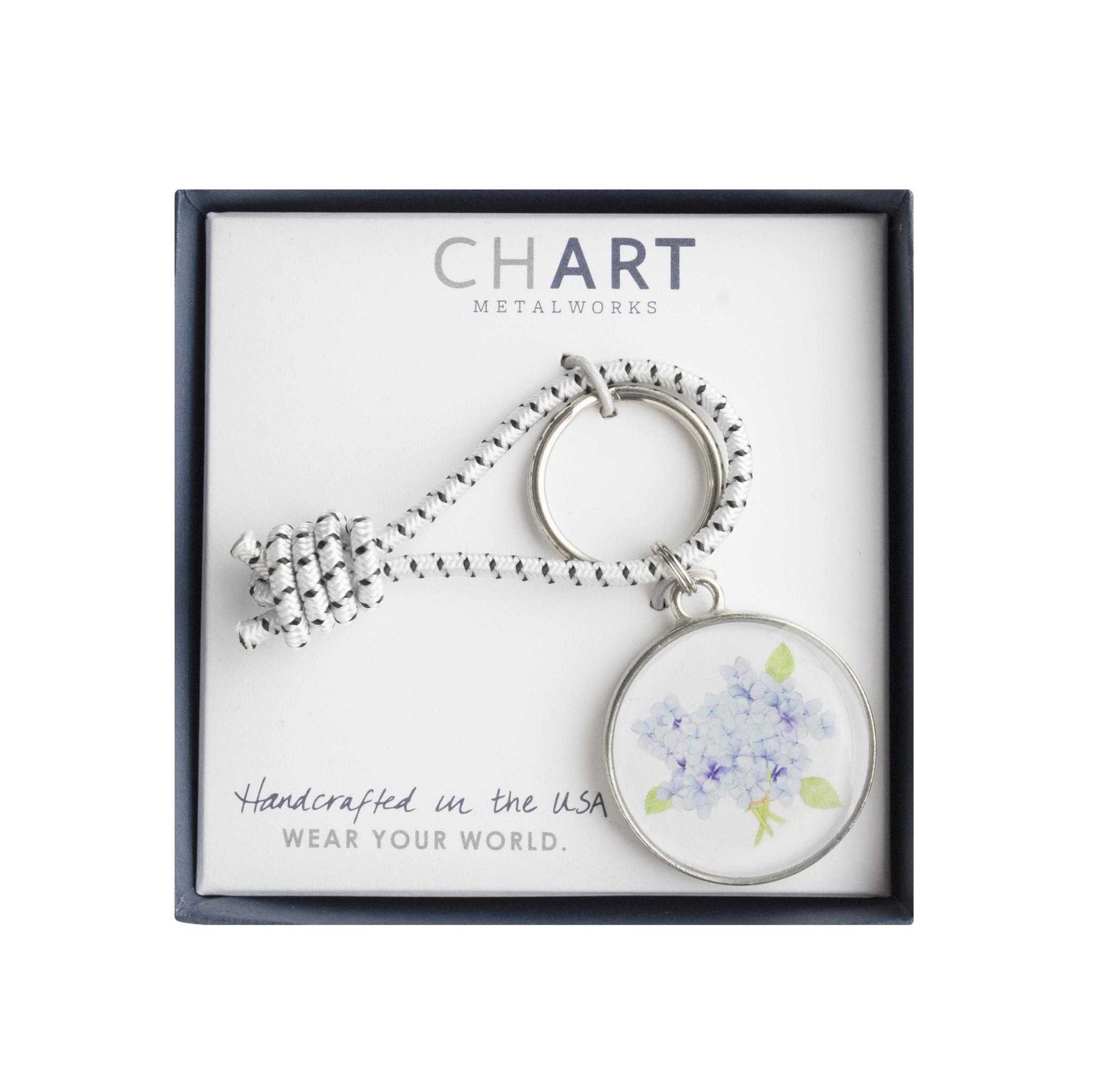 Chart Metalworks Key Ring - Sara Fitz Hydrangea - Pewter