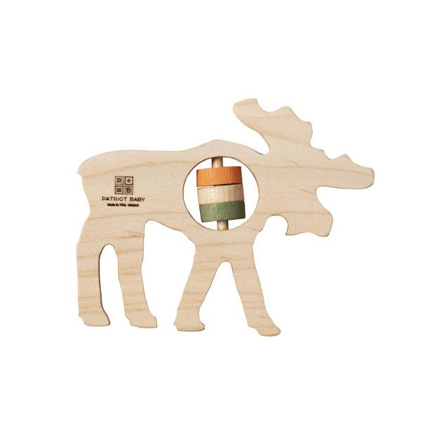 Patriot Baby Patriot Baby Wooden Teething Rattle - Moose