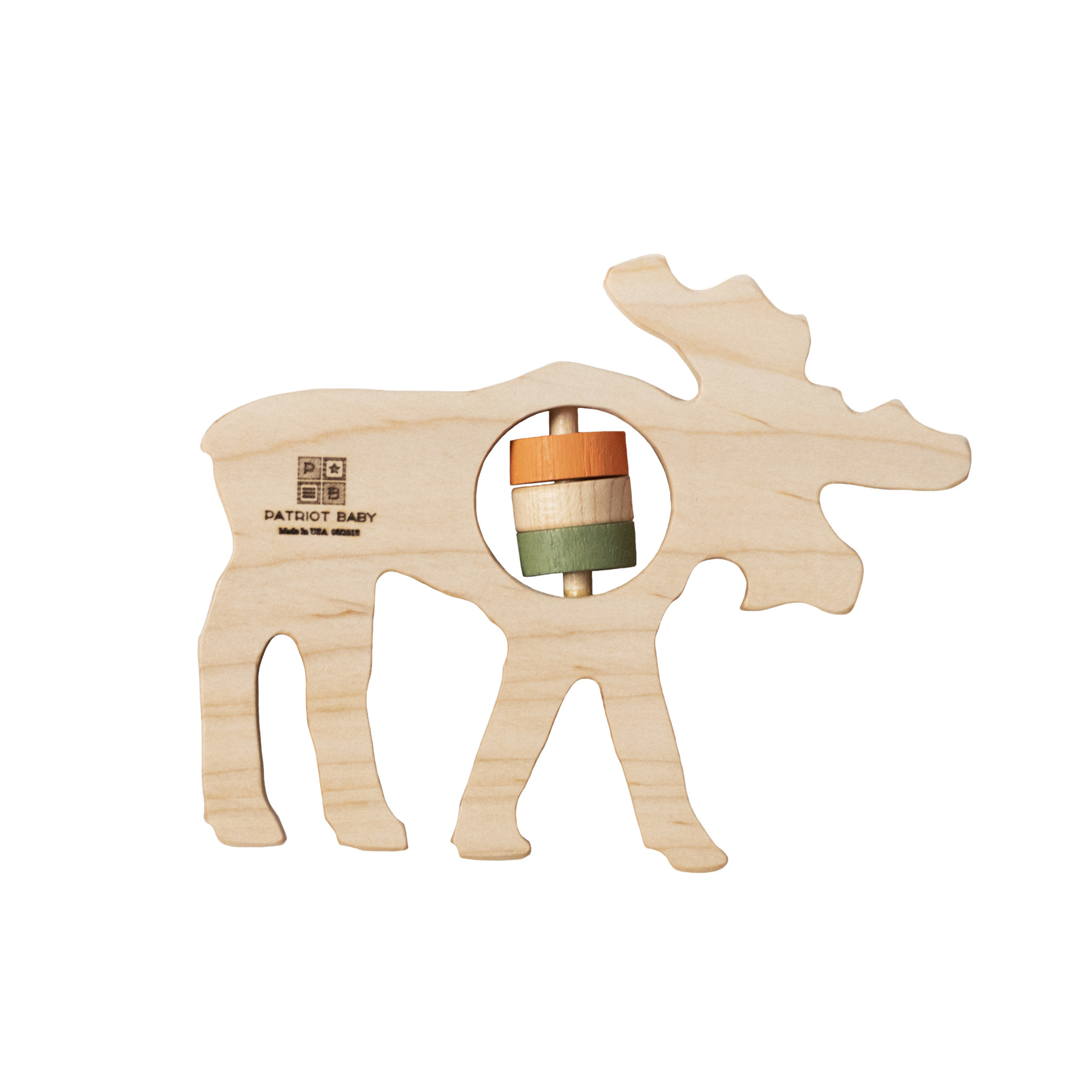 Patriot Baby Patriot Baby Wooden Teething Rattle - Moose