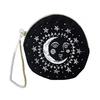 Printfresh Studio Moon Face Embroidered Small Velvet Pouch