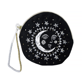 Printfresh Studio Printfresh Studio Moon Face Embroidered Small Velvet Pouch