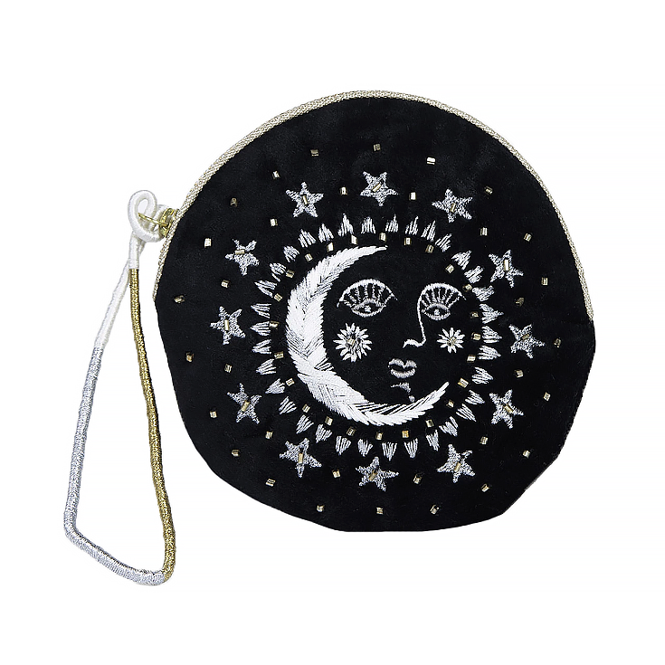 Printfresh Studio Printfresh Studio Moon Face Embroidered Small Velvet Pouch