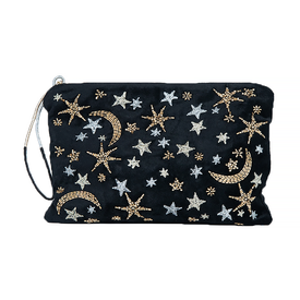 Printfresh Studio Printfresh Studio Celestial Skies Embroidered Medium Velvet Pouch