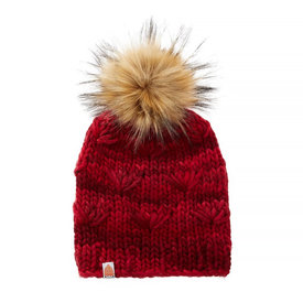 Shit That I Knit Shit That I Knit Motley Beanie - Cardinal - Faux Fur Pom
