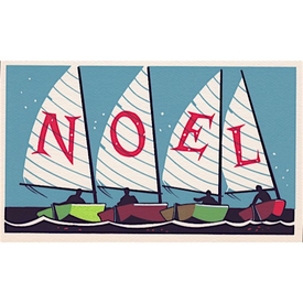 Vintage Vintage Deadstock Holiday Card - Noel Sailboats