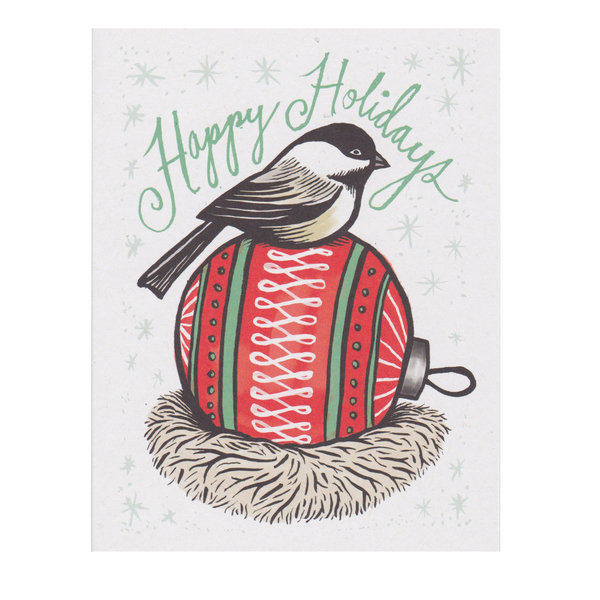 Daytrip Society Daytrip Society Happy Holidays Chickadee Ball Card - Set of 10
