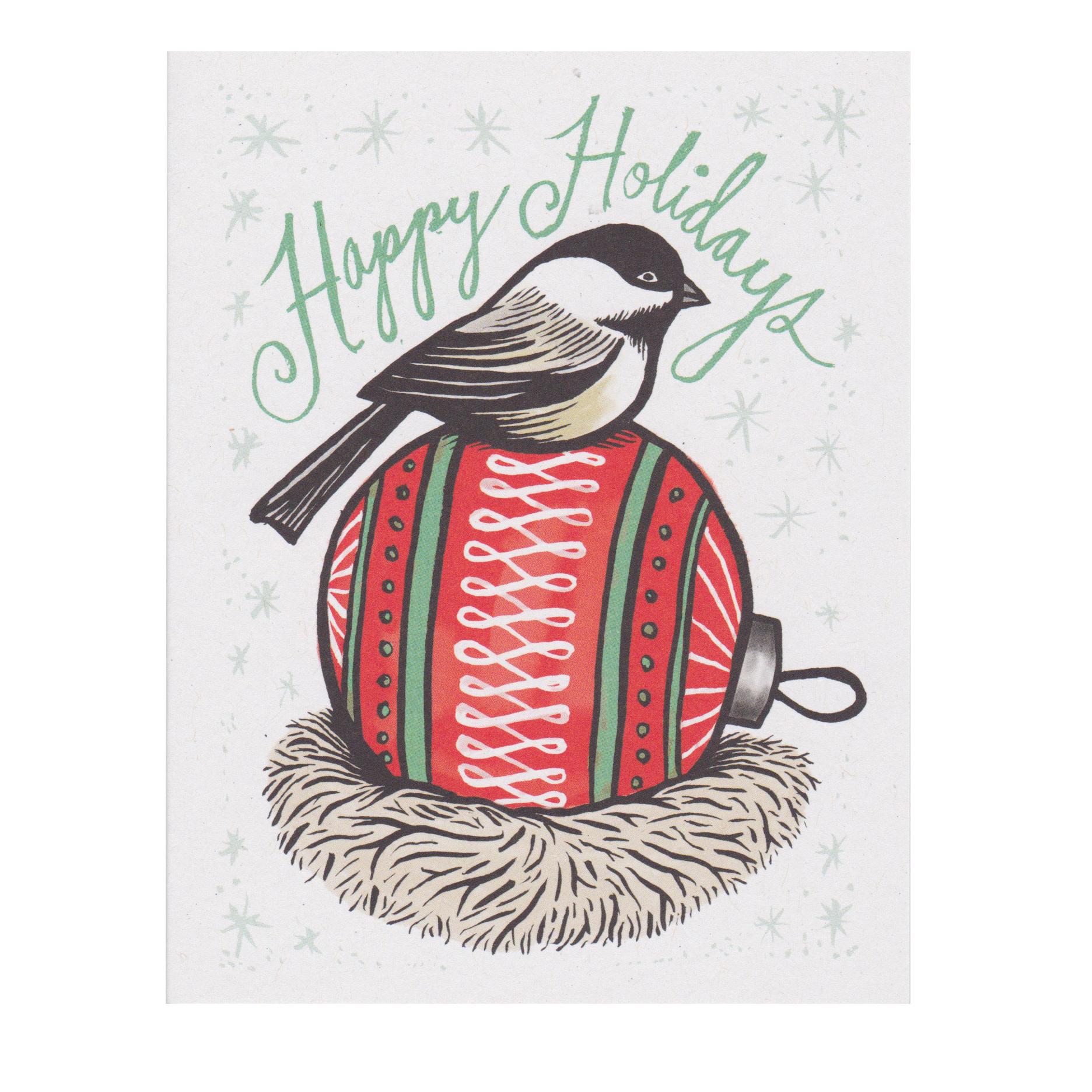 Daytrip Society Happy Holidays Chickadee Ball Card - Set of 10