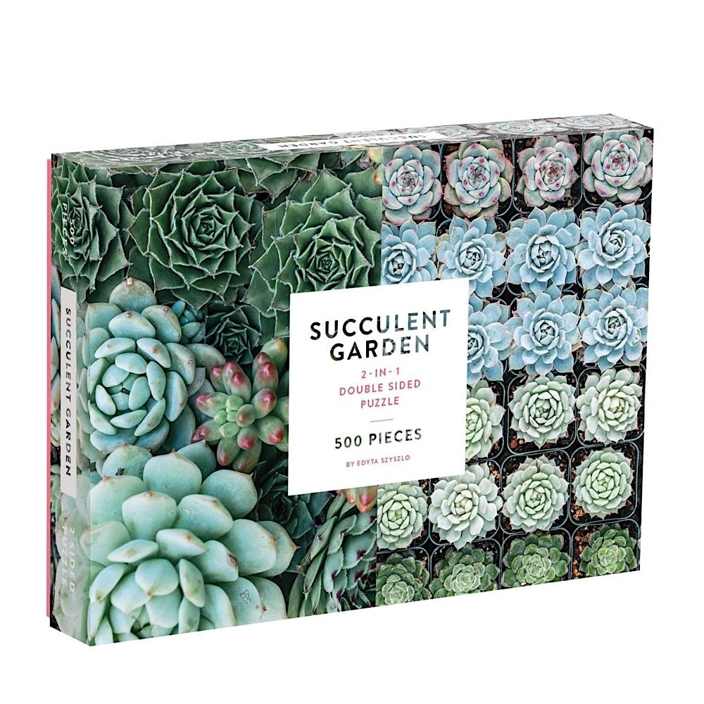 Galison Mudpuppy Succulent Garden Jigsaw Puzzle - Double Sided - 500 Pieces