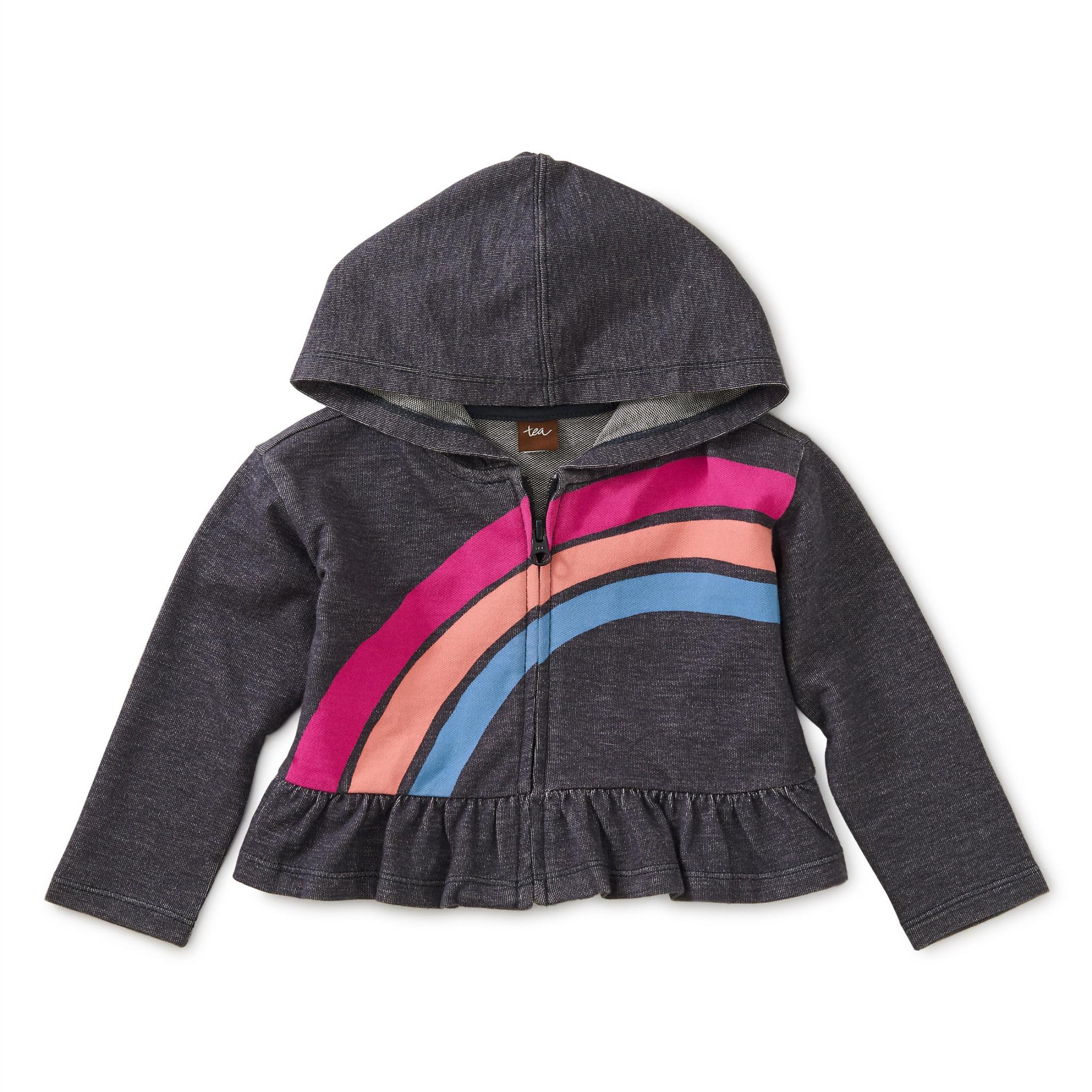 Tea Collection Rainbow Denim-Like Zip Hoodie