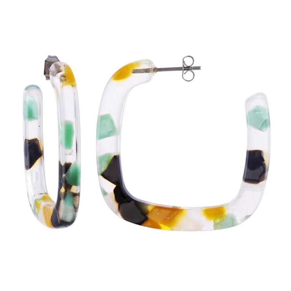 Machete - Midi Square Hoop Earrings - Meadow