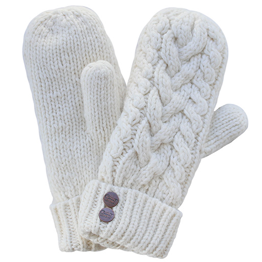 CherryT Co. Classic Cable Knit Mittens Vintage Creme