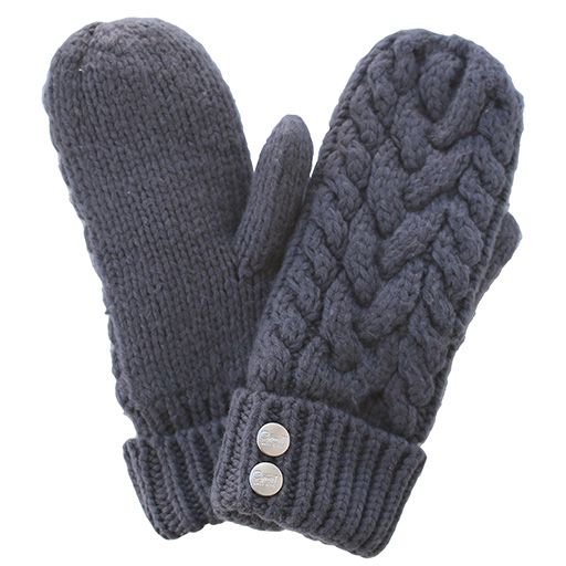 CherryT Co. Classic Cable Knit Mittens Vintage Grey