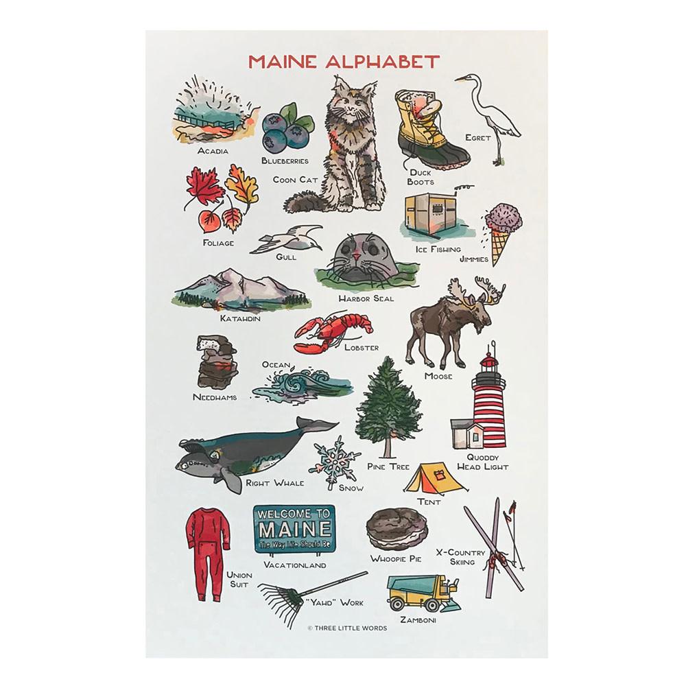 Three Little Words Paper Maine Alphabet Print - 11x17