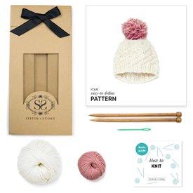 Stitch & Story Stitch & Story Luca Pom Hat - Ivory White/Pink Pom