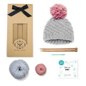 Stitch & Story Stitch & Story Luca Pom Hat - Stormy Grey/Pink Pom