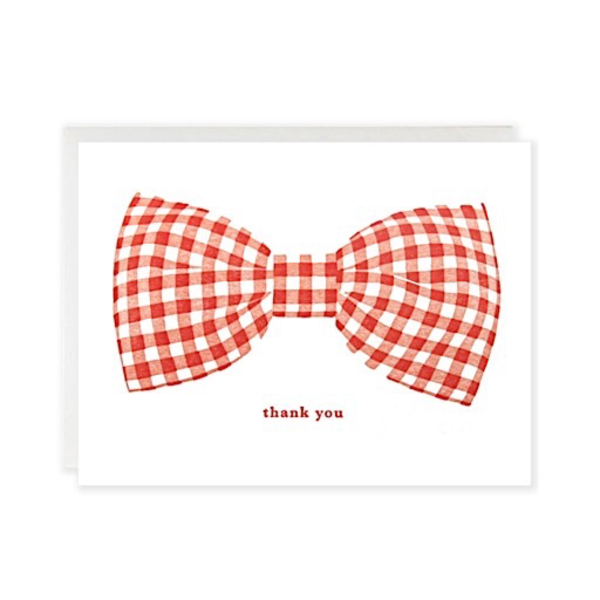 Grove Street Press Grove Street Press Gingham Bow Thanks Card