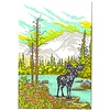 Old School Stationers Card - Moose By Mountain Lake