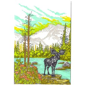 Old School Stationers Old School Stationers Card - Moose By Mountain Lake