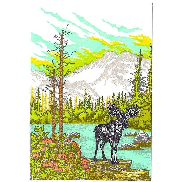 Old School Stationers Old School Stationers Card - Moose By Mountain Lake