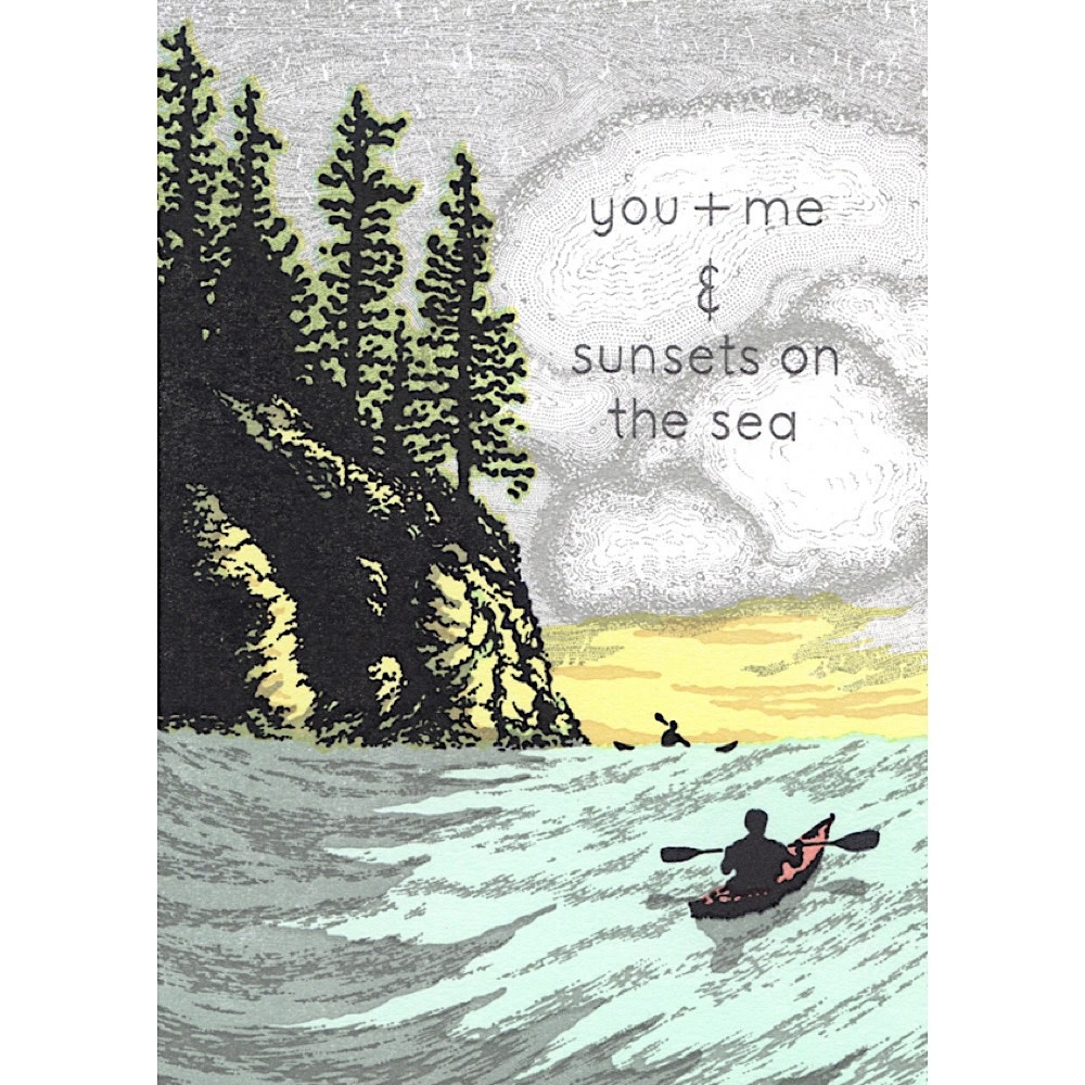 Old School Stationers Card - You + Me & Sunsets On The Sea