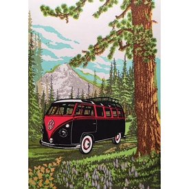 Old School Stationers Old School Stationers Card - VW Van In Meadow